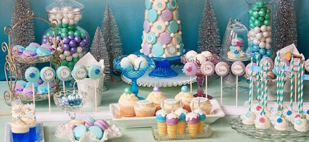 Frozen themed dessert buffet via Kara's Party Ideas KarasPartyIdeas.com Full of decor, recipes, tutorials, games, and more! (1)