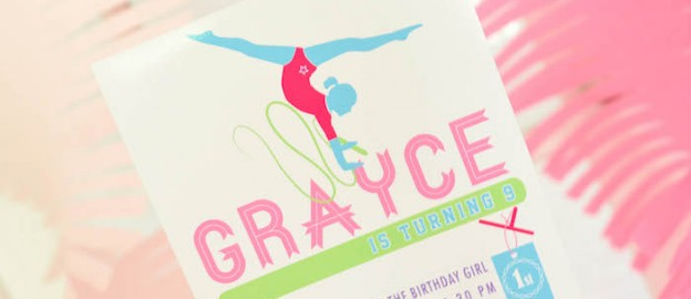 Gymnastics themed birthday party via Kara's Party Ideas KarasPartyIdeas.com Cake, decor, invitation, printables, cupcakes, and more! #gymnasticsparty #gymnastics (1)