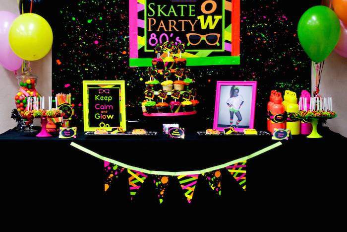 80s Theme Party Decoration Ideas Part - 23: ... Neon 80 S Skate Themed Birthday Party Via Kara S Party Ideas  Karaspartyideas Com Decor Cake ...