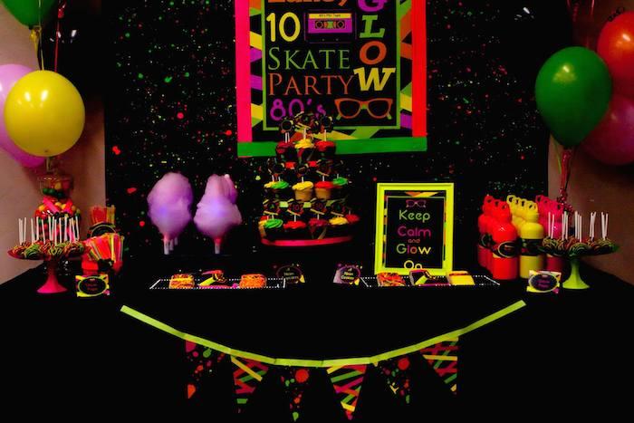 Karas Party Ideas Neon 80s Skate themed birthday party via