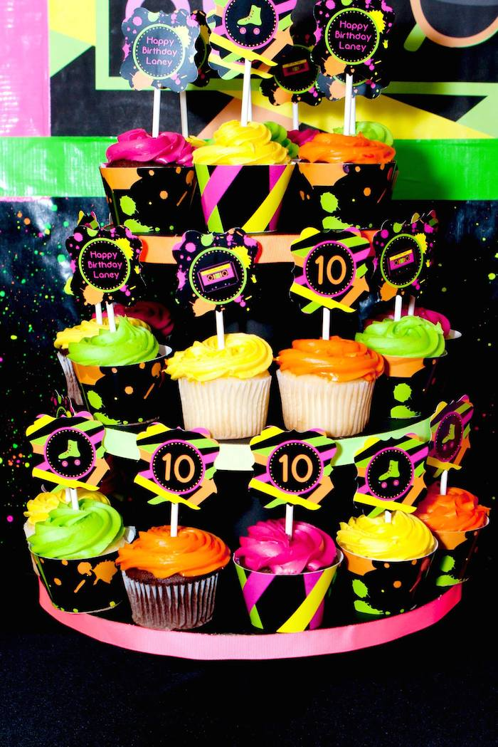 Kara 39 s party ideas neon 80 39 s skate themed birthday party for 80s cake decoration ideas