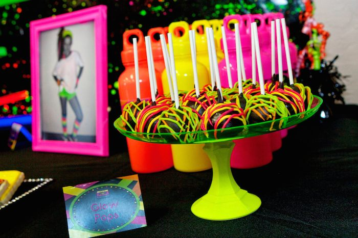 Kara 39 s party ideas neon 80 s skate themed birthday party for 80 birthday decoration ideas