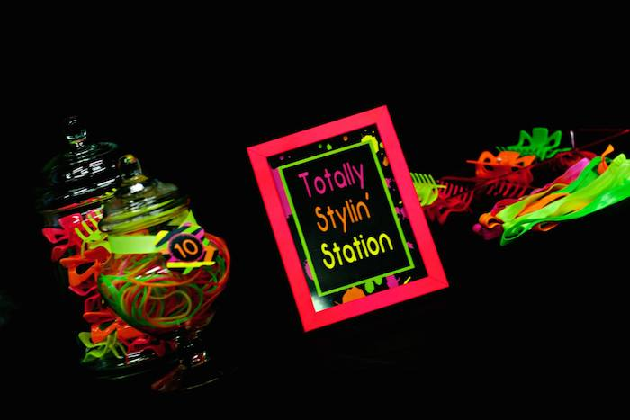 Party ideas neon 80 s skate themed birthday party via kara s party