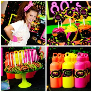 Neon 80's Skate themed birthday party via Kara's Party Ideas KarasPartyIdeas.com Decor, cake, invitation, banners, favors, recipes, and more! #neon #neonparty #glowinthedark #glowinthedarkparty #tweenparty #skateparty #80sparty (2)