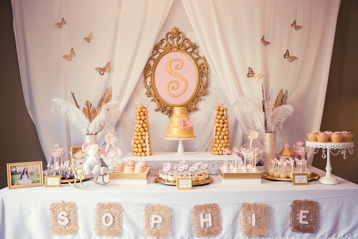 Pink And Gold Baby Shower Via Karau0027s Party Ideas KarasPartyIdeas.com Cake,  Banner,