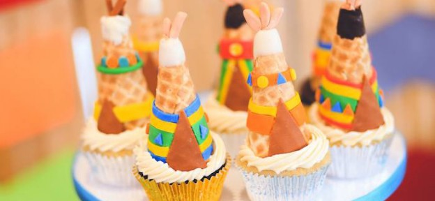 Twins Pow Wow themed birthday party via Kara's Party Ideas KarasPartyIdeas.com Printables, invitation, cake, cupcakes, decor, food, favors, recipes, and more! #powwow #indianparty #nativeamerican #twinparty (2)