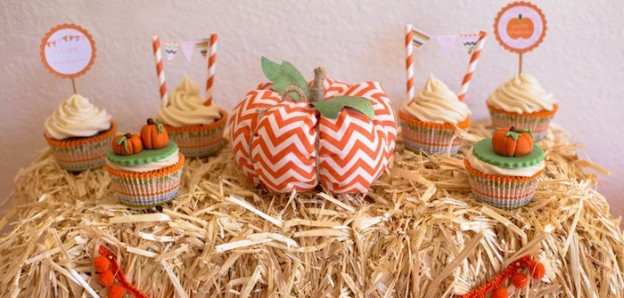 Sweet Pumpkin birthday party via Kara's Party Ideas KarasPartyIdeas.com Favors, stationery, desserts, drinks, supplies, and more! #pumpkinparty #pumpkinpatch #halloweenparty #fallpartyideas (1)