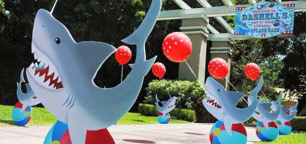 Wet n Wild Shark themed birthday party via Kara's Party Ideas KarasPartyIdeas.com Cake, printables, invitation, favors, cupcakes, supplies, and more! #sharkparty #sharkcake (1)