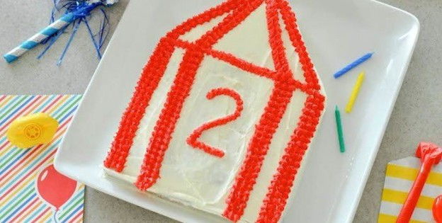 DIY Circus Tent birthday party cake tutorial via Betty Crocker and Kara Allen | Kara's Party Ideas | KarasPartyIdeas.com