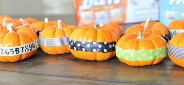 Mini washi tape pumpkins as halloween decor! Via Kara Allen | Kara's party Ideas | KarasPartyIDeas.com