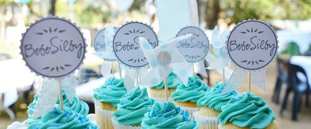 Blue & White Baby Shower via Kara's Party Ideas KarasPartyIdeas.com Decor, cupcakes, recipes, favors, and more! #boybabyshower #babyshower #gardenbabyshower (2)
