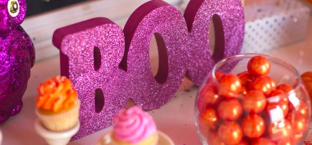 Candy + Halloween themed birthday party via Kara's Party Ideas KarasPartyIdeas.com Banners, cake, food, favors, supplies, printables, and more! #halloween #halloweenparty #girlyhalloweenparty #halloweenbirthdayparty (2)