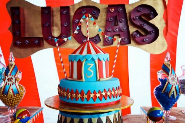 Vintage Circus themed birthday party via Kara's Party Ideas KarasPartyIdeas.com Cake, banners, favors, food, and more! #vintagecircus #circusparty #circuscake #vintagecircusparty (4)