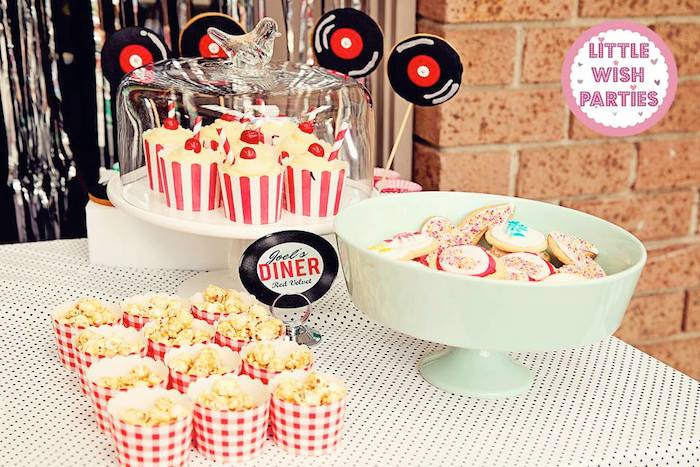 Kara 39 s party ideas 1950 39 s diner rock n roll themed - Rock and roll theme party decorations ...
