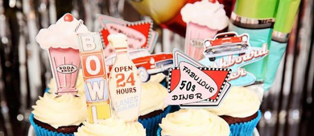 1950's Diner + Rock n Roll themed birthday party via Kara's Party Ideas KarasPartyIdeas.com Cake, decor, printables, favors, food, supplies, and more! #retroparty #retrodiner #1950sparty #vintagedinerparty #vintagediner #rocknroll (2)