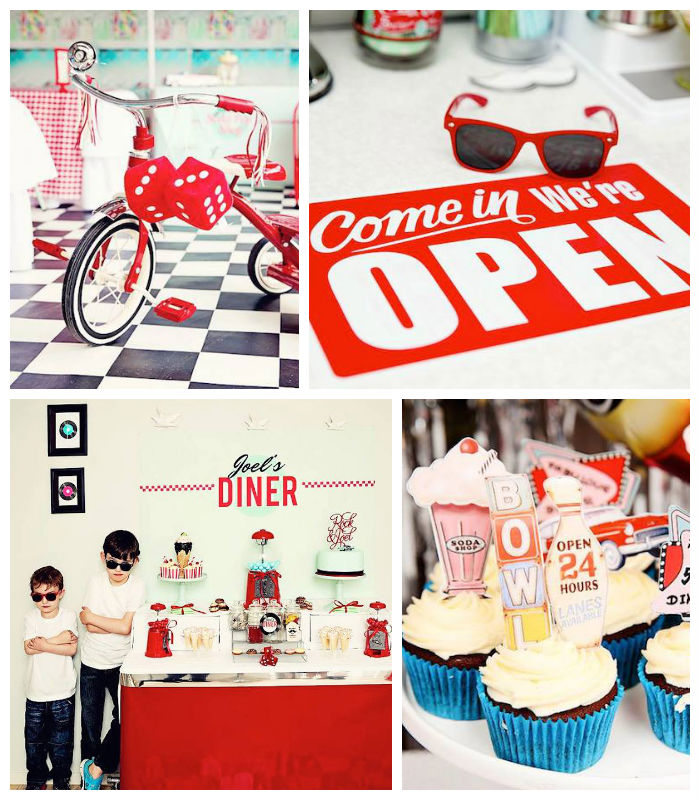 Kara 39 s party ideas 1950 39 s diner rock n roll themed for Decoration retro cuisine