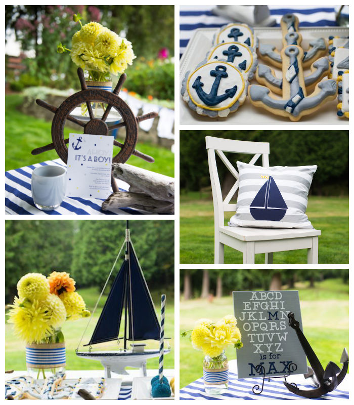 Kara 39 s party ideas nautical baby shower via kara s party for Baby shower nautical decoration