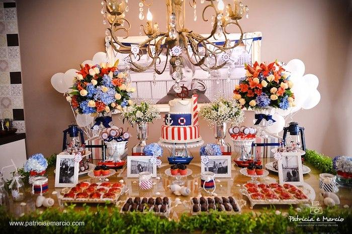 Nautical Navy Themed Birthday Party Via Karas Ideas KarasPartyIdeas Cake Banners