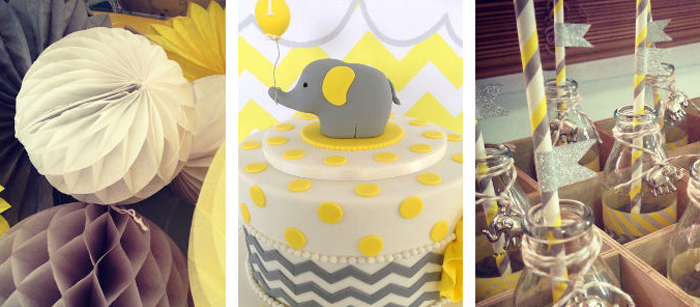 Karas Party Ideas Yellow Grey Elephant Themed Birthday
