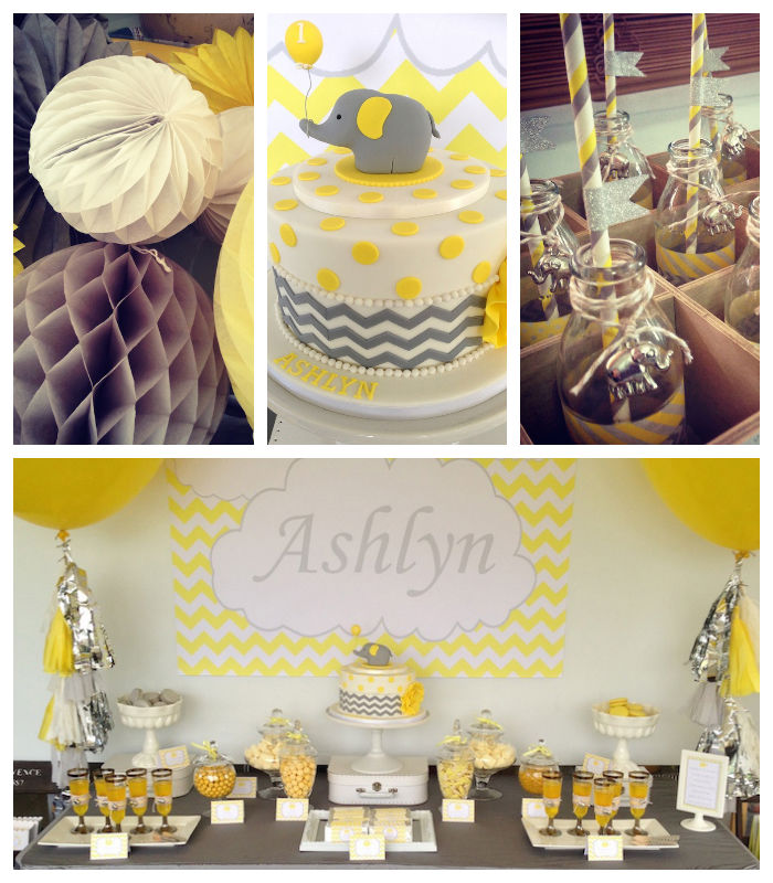 This Sweet YELLOW GREY ELEPHANT THEMED BIRTHDAY PARTY Was Submitted By Kirsten Russell Of