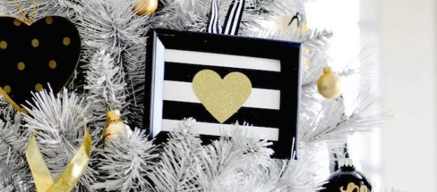 gold black white modern holiday christmas tree decorating tips via Kara Allen | Kara's Party Ideas KarasPartyIdeas.com