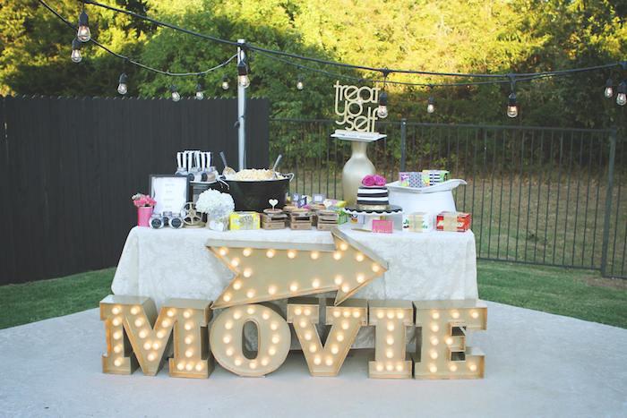 Outdoor Movie Night 30th Birthday Party Via Karas Ideas KarasPartyIdeas Supplies