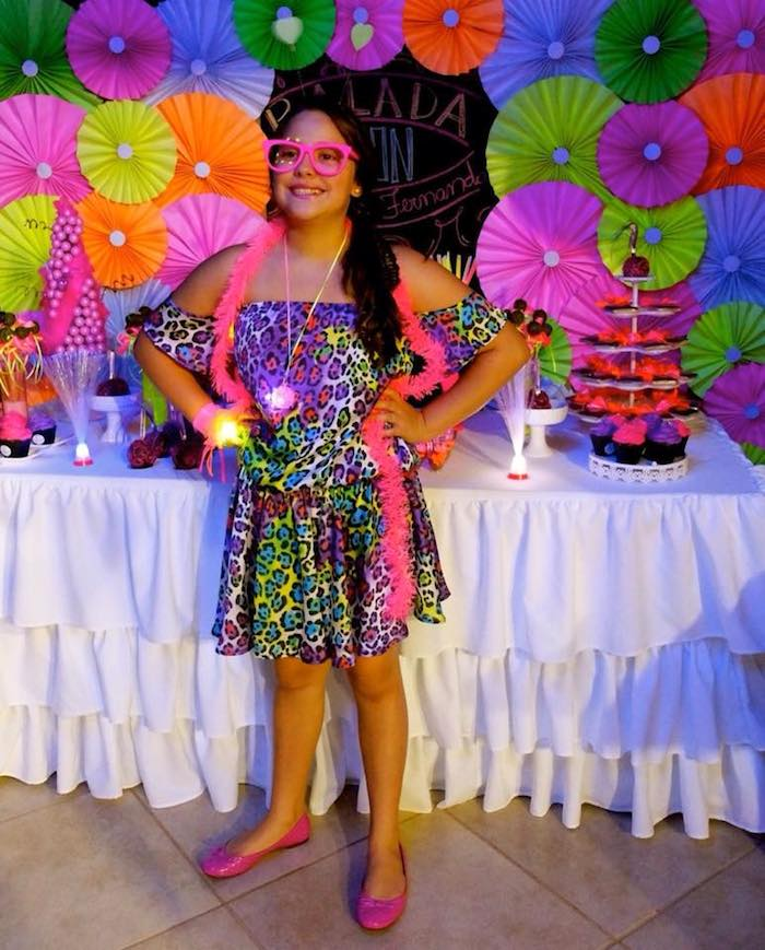 Neon Themed Birthday Party Via Karas Ideas KarasPartyIdeas Cake Printables Supplies
