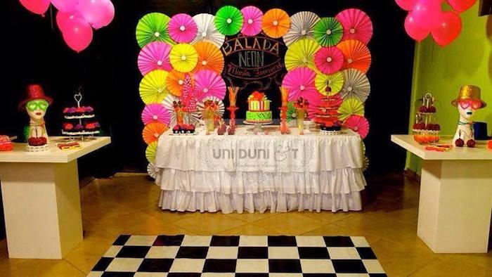 Karas Party Ideas Neon themed birthday party via Karas Party