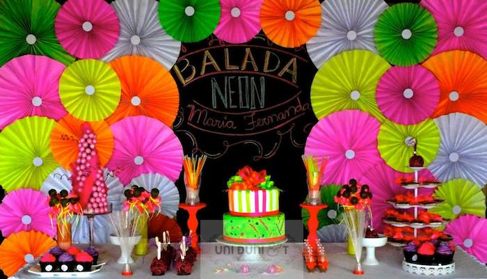 Karas Party Ideas Neon Themed Birthday Party Via Karas Party - Neon birthday party cakes