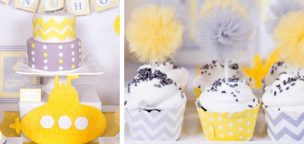 Yellow Submarine themed birthday party via Kara's Party Ideas KarasPartyIdeas.com The Place For All Things Party! #yellowsubmarineparty #submarineparty #yellowsubmarine #boypartyideas (1)