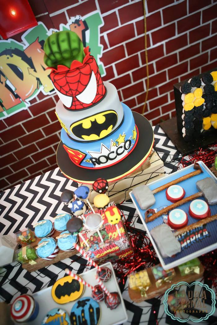 Kara's Party Ideas Urban Superhero Themed Birthday Party