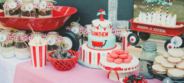 Little Red Wagon 1st birthday party via Kara's Party Ideas KarasPartyIdeas.com Printables, cakes, supplies, desserts, food, and more! #littleredwagon #wagonparty #firstbirthday #redwagon #redwagonparty (1)