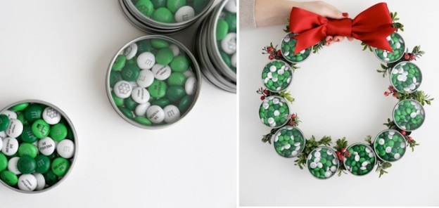 DIY Holiday Candy Favor Wreath for your next party! Via Evite and MY M&M's on Kara's Party Ideas! #mymms