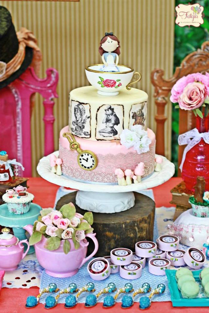 Kara 39 s party ideas alice in wonderland tea party via kara - Alice in the wonderland party decorations ...