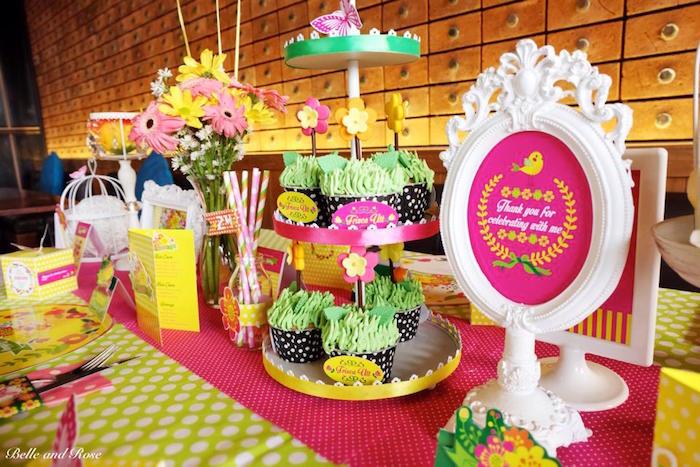 Karas Party Ideas Colorful Garden themed birthday party via