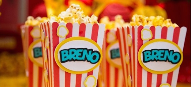 Popcorn themed birthday party via Kara's Party Ideas KarasPartyIdeas.com Cake, decor, favors, supplies, tutorials, recipes, and more! #popcornparty #movienight #movieparty #movieviewingparty (1)