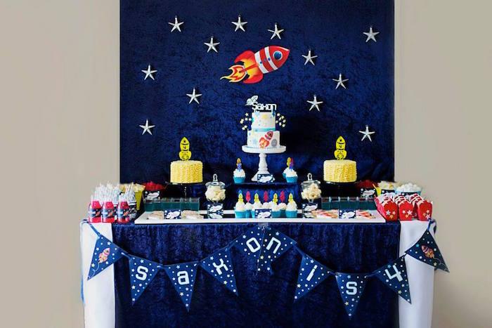 Kara S Party Ideas Rocket Ship Space Themed Birthday