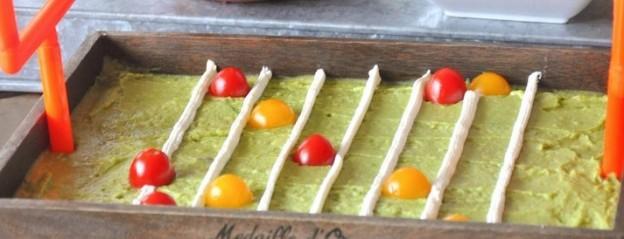 Guacamole football stadium and Ritz Crackers! Easy tutorial and yummy recipe usong yogurt on Kara's Party Ideas | KarasPartyIdeas.com | Kara Allen #homebowlhero
