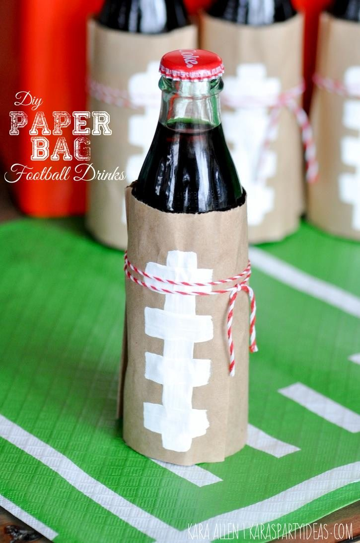 DIY Wrapped Paper Bag Football Drinks via Kara's Party Ideas | KarasPartyIdeas.com | Kara Allen for Coca Cola #HomeBowlHero #HomeBowlHeroContest_-4
