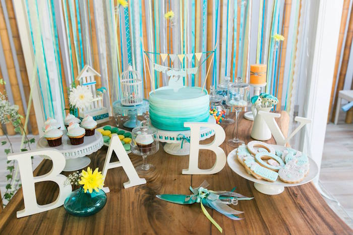 Kara S Party Ideas Yellow Blue Baby Shower