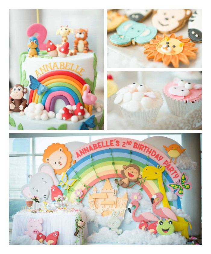 Kara's Party Ideas Animals & Rainbows Themed 2nd Birthday