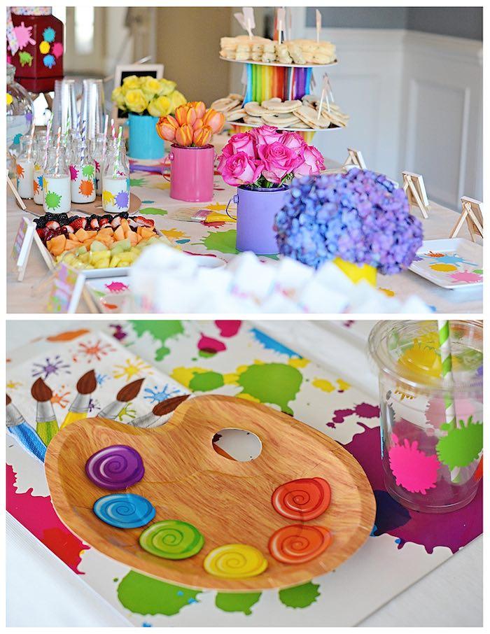 Cake Decorating Birthday Party Places : Kara s Party Ideas Art Themed 3rd Birthday Party via KARA ...