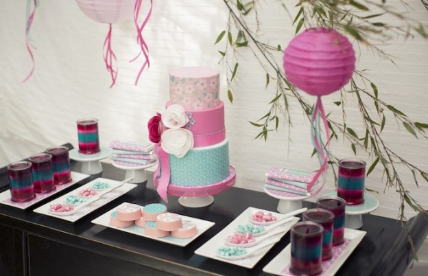 Cherry Blossom Spa Themed Birthday Party via Kara's Party Ideas KarasPartyIdeas.com Cake, printables, tutorials, recipes, decor and more! #cherryblossomparty #spaparty #japanesecherryblossom #spaday #japanesespaparty (10)