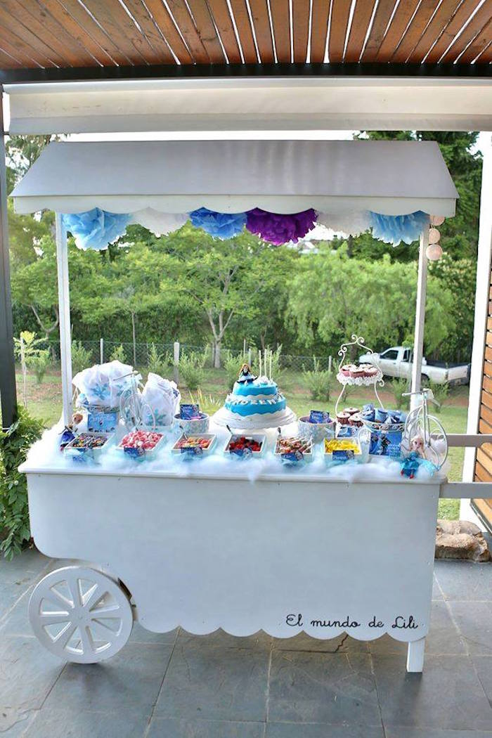 Frozen Inspired Candy Cart Dessert Bar Via Kara S Party Ideas Karaspartyideas