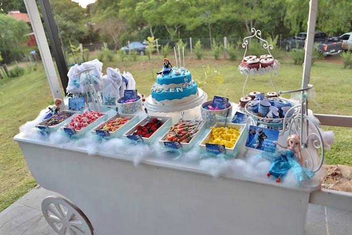 Kara S Party Ideas Frozen Inspired Candy Cart Dessert Bar