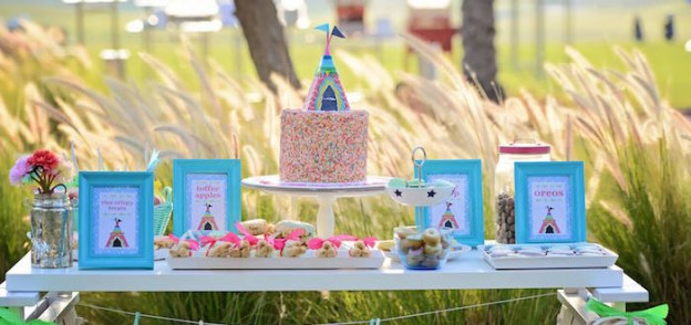 Glamping Themed Birthday Party via Kara's Party Ideas KarasPartyIdeas.com Printables, tutorials, cake, banners, desserts, games, favors and more! #glamping #glampingparty #girlycampingparty #glampingcake (1)