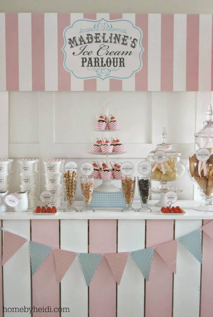 Kara S Party Ideas Ice Cream Parlor Themed Birthday Party