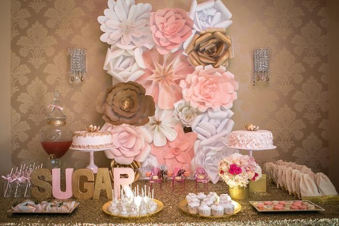 Karas Party Ideas Pink Gold Themed Birthday Party via Karas