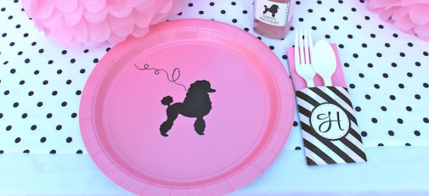 Poodle Skirt Themed Birthday Party via Kara's Party Ideas KarasPartyIdeas.com Cake, tutorials, stationery, favors, supplies, and more! #poodleskirt #poodleparty #pinkandblackparty #poodleskirtyparty #karaspartyideas #girlbirthdayparty #piolkadotparty (1)