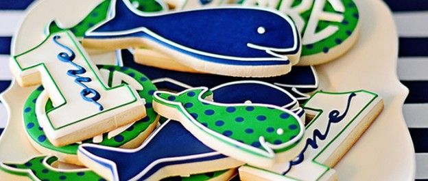 Preppy Whale themed birthday party via Kara's Party Ideas KarasPartyIdeas.com Cake, printables, recipes, tutorials, banners, and more! #whaleparty #preppywhaleparty #firstbirthdayideas (1)